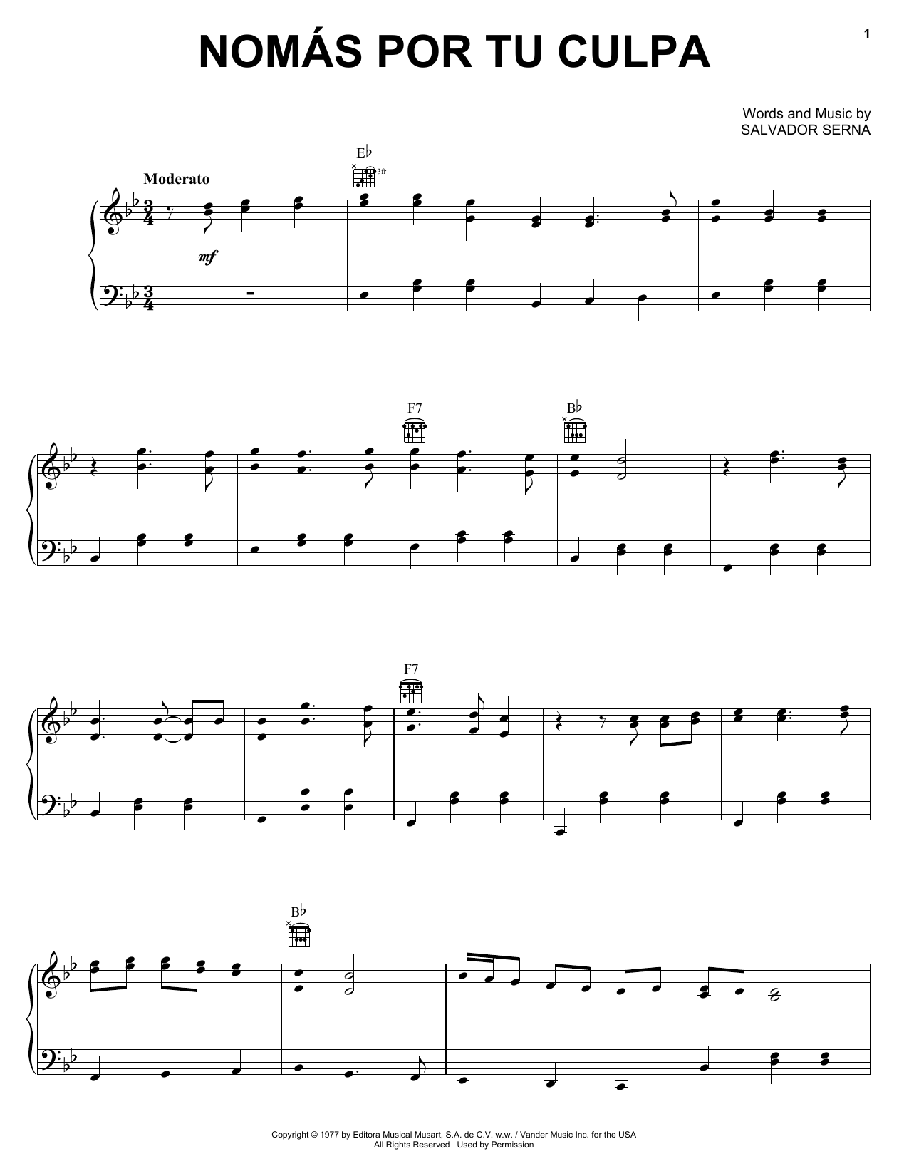 Nomas Por Tu Culpa Sheet Music