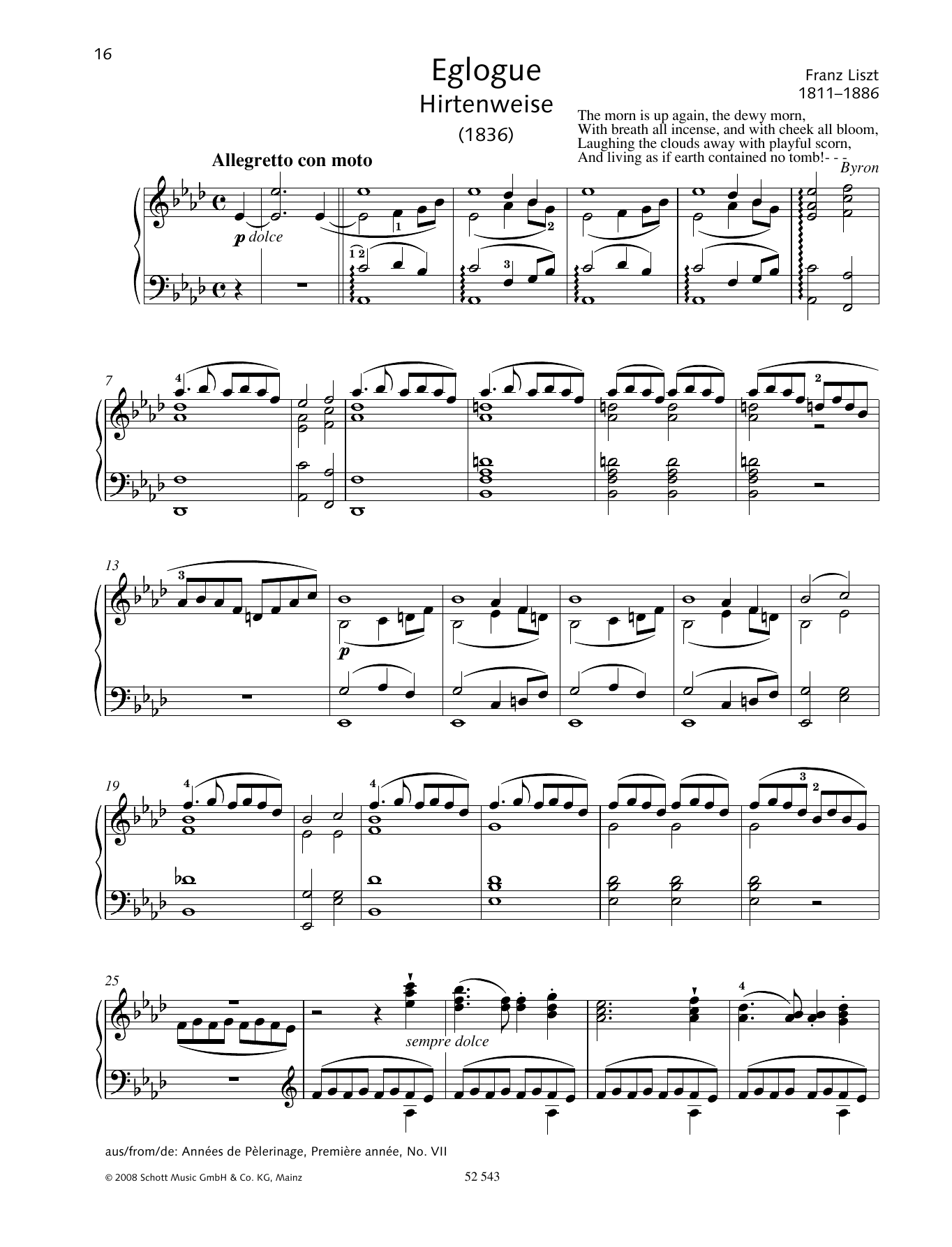 Eglogue (Hirtenweise) Sheet Music