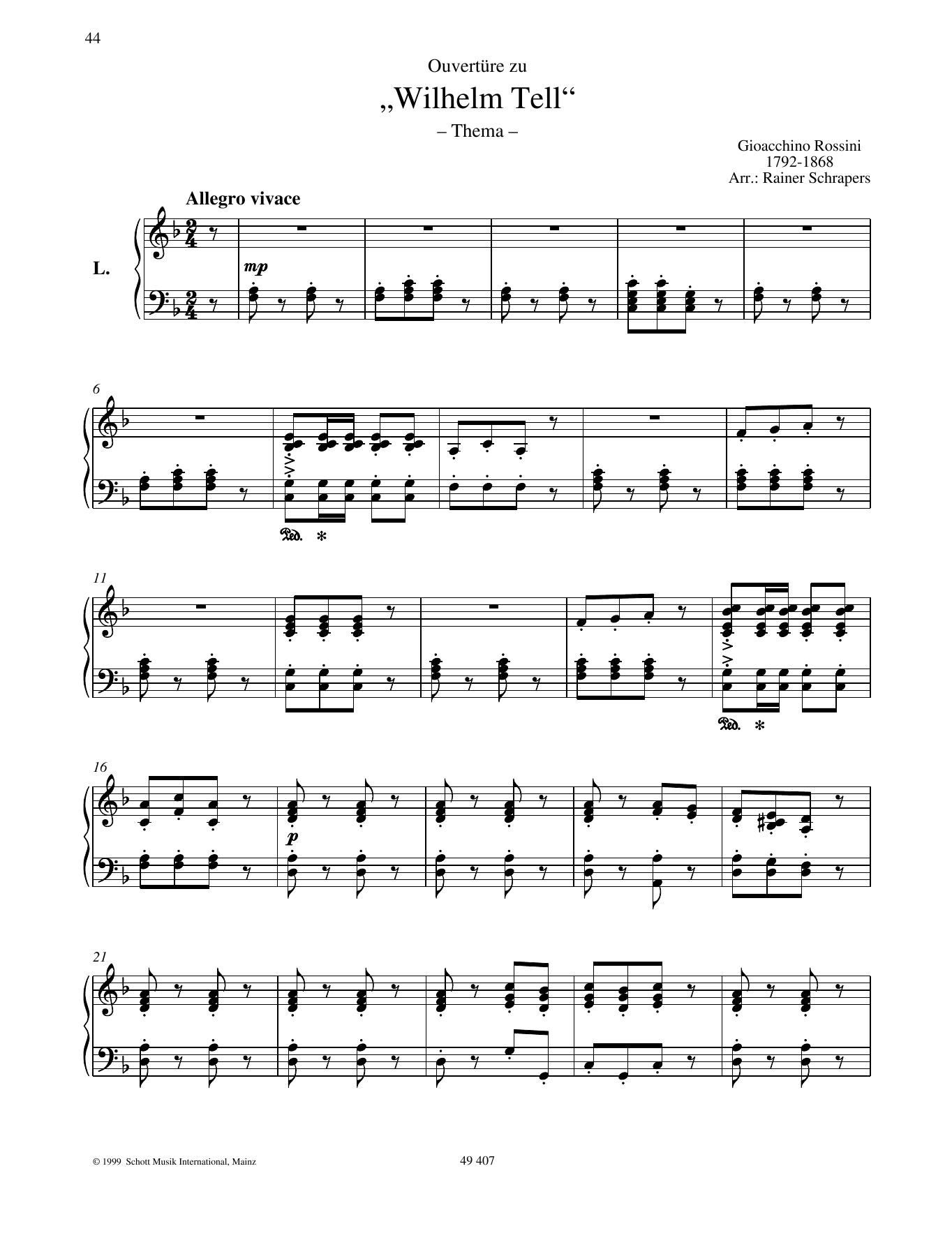 "Overture to ""William Tell"" Sheet Music"