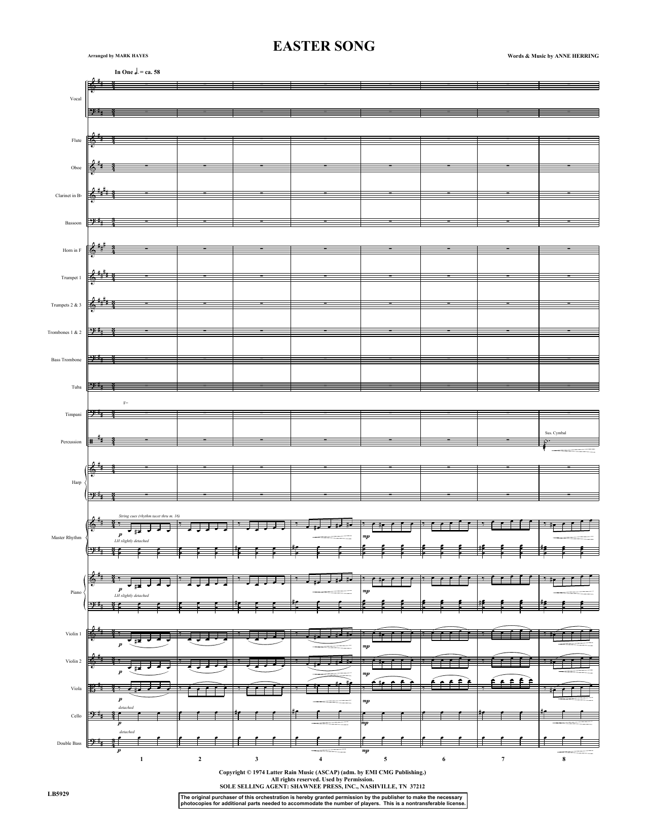 Easter Song (COMPLETE) sheet music for orchestra/band by Glad, Anne Herring and Mark Hayes. Score Image Preview.