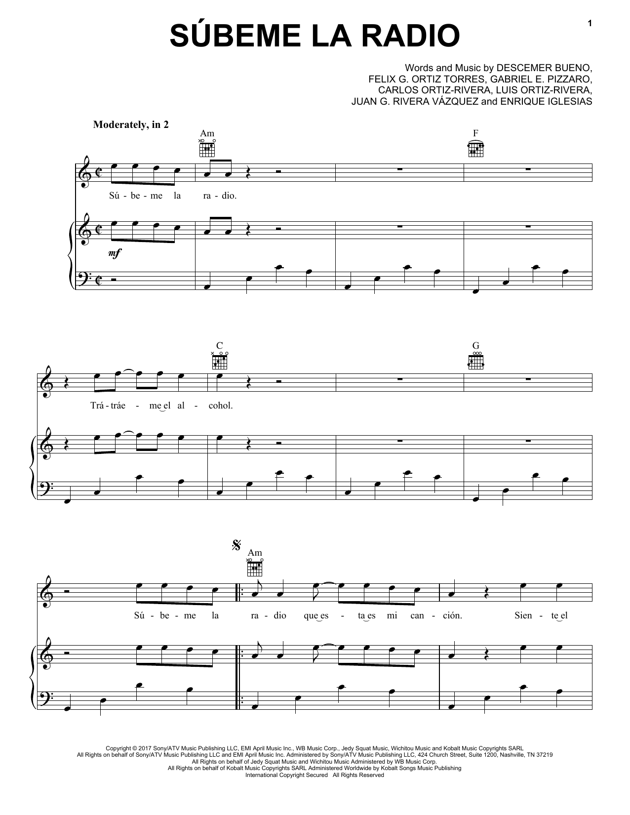 Subeme La Radio (Piano, Vocal & Guitar (Right-Hand Melody))