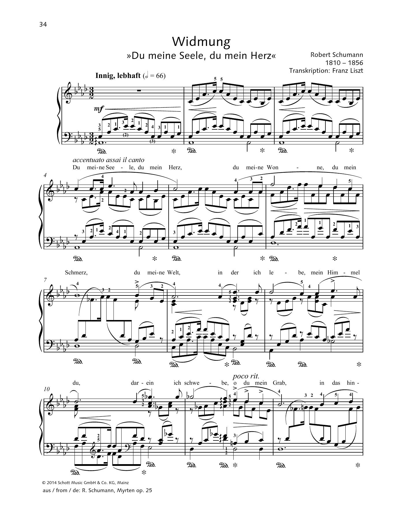 Widmung Sheet Music