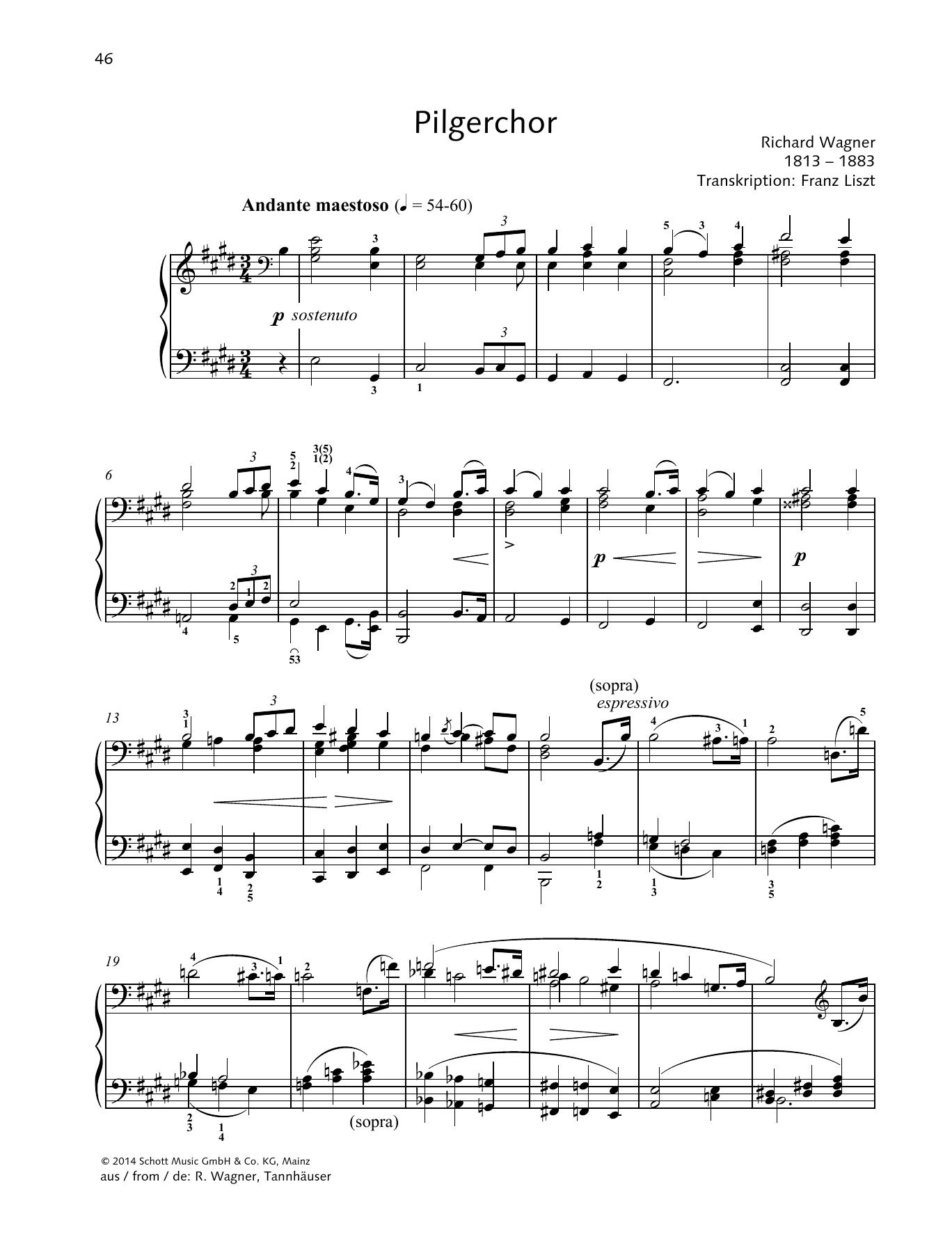 Pilgerchor Sheet Music