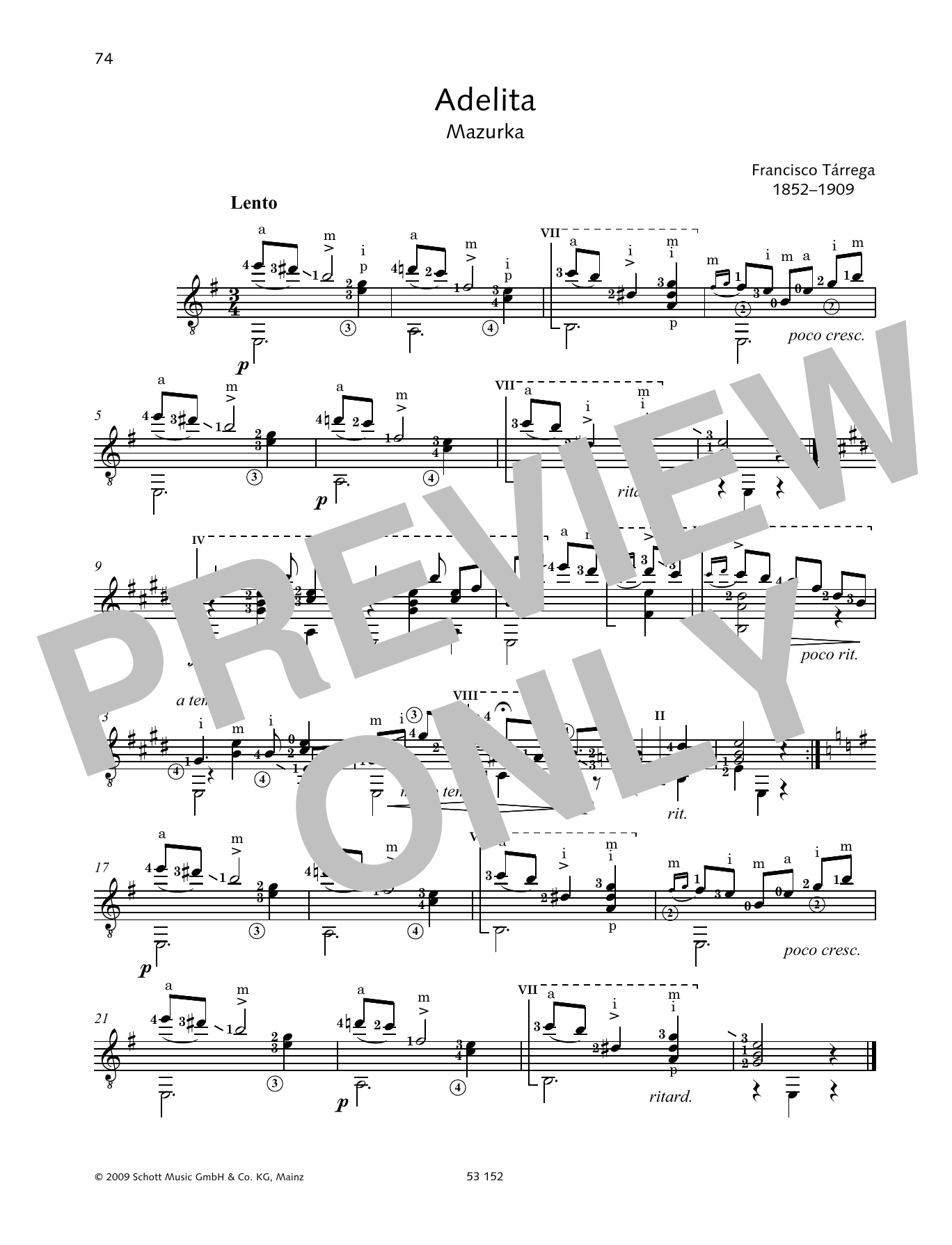 Adelita by Francisco Tárrega Solo Guitar Tab Digital Sheet Music