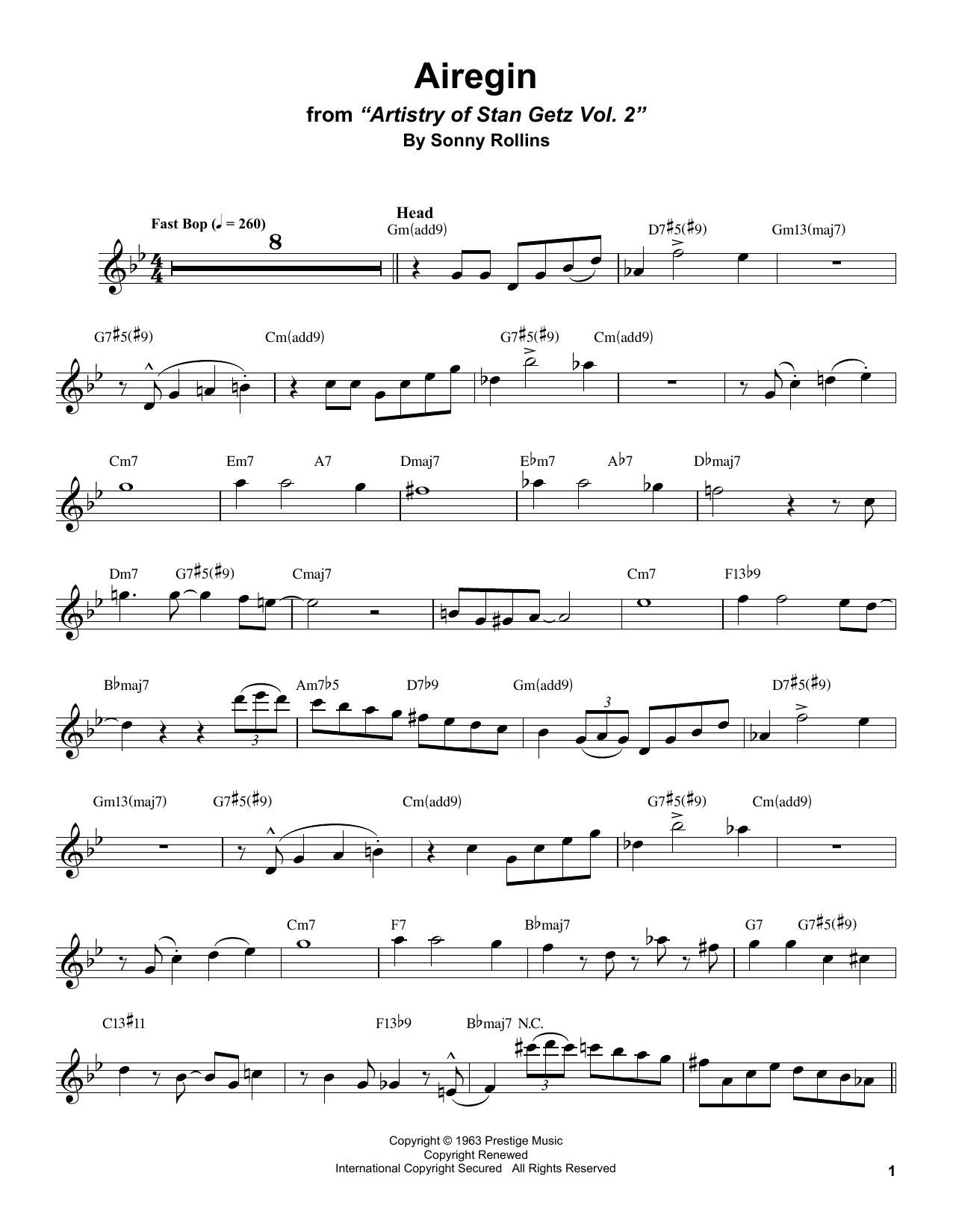 Airegin (Tenor Sax Transcription)