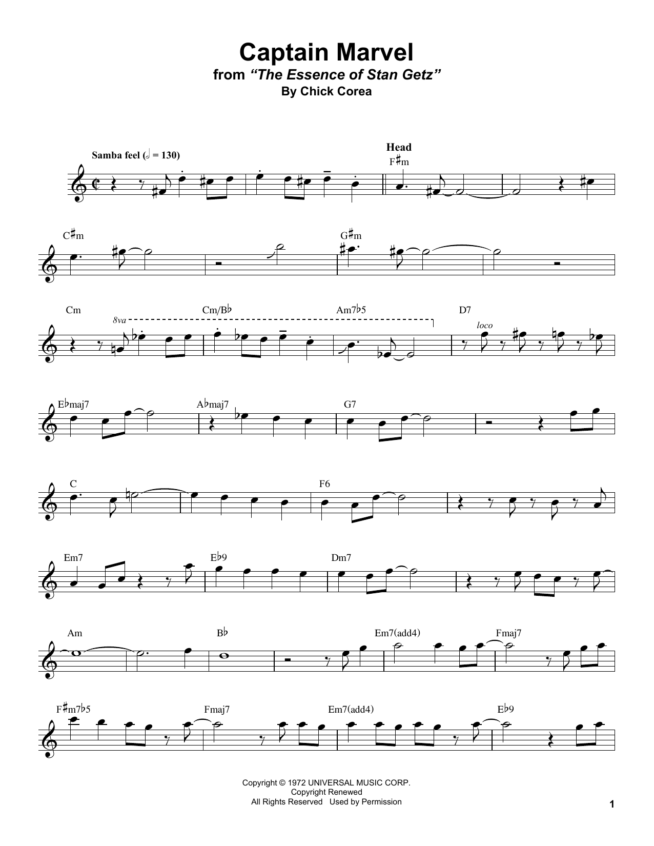 Captain Marvel (Tenor Sax Transcription)