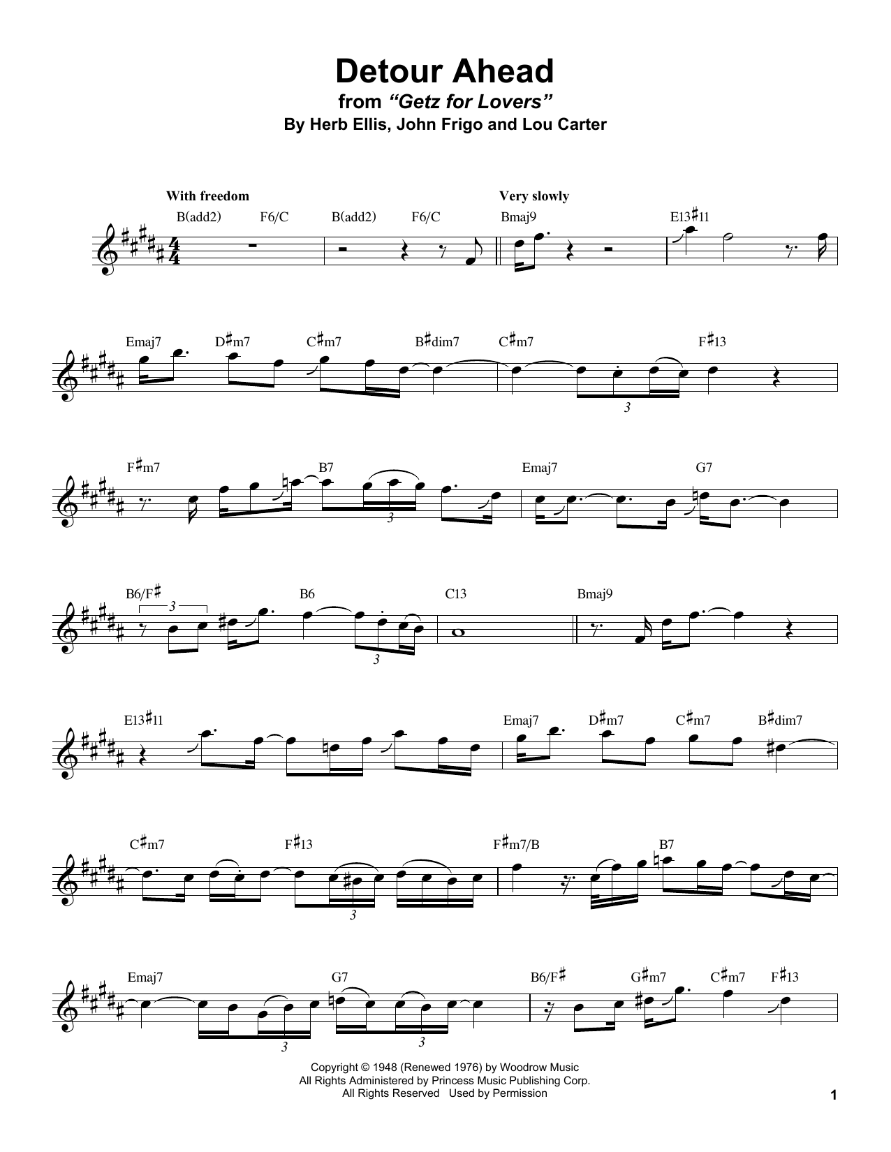 Detour Ahead (Tenor Sax Transcription)