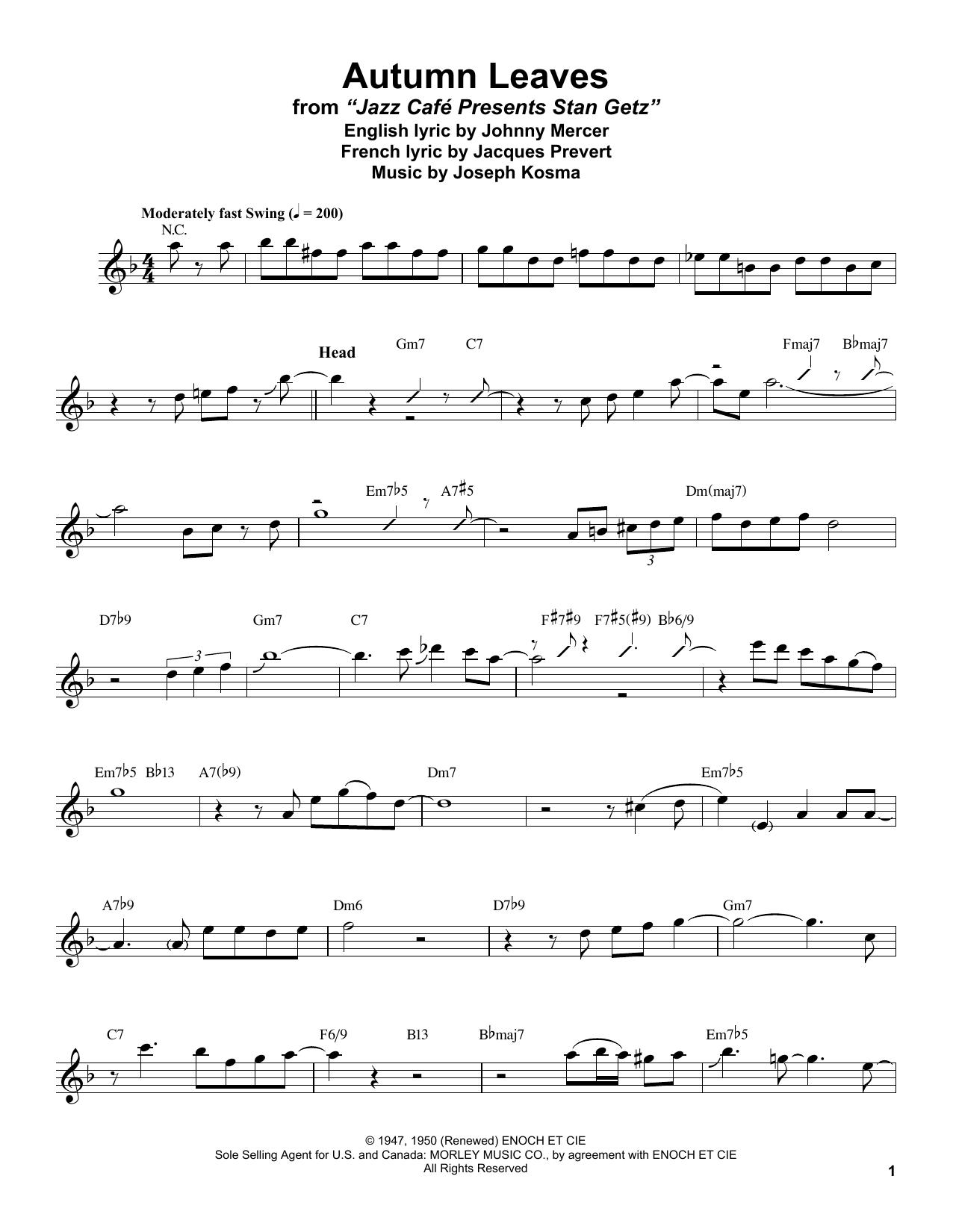 Autumn Leaves (Tenor Sax Transcription)