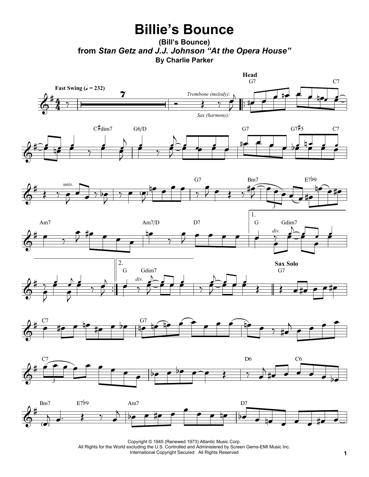 Billie's Bounce (Bill's Bounce) (Tenor Sax Transcription)