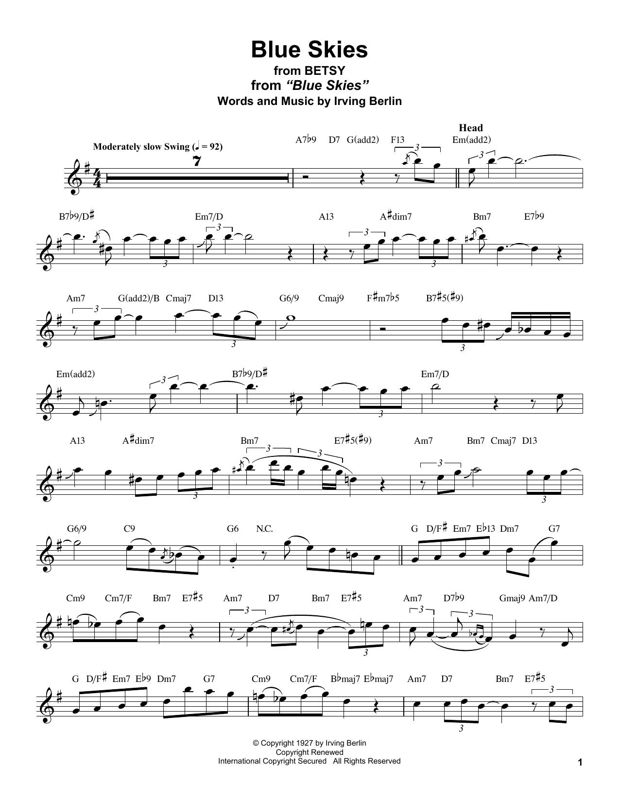 Blue Skies (Tenor Sax Transcription)