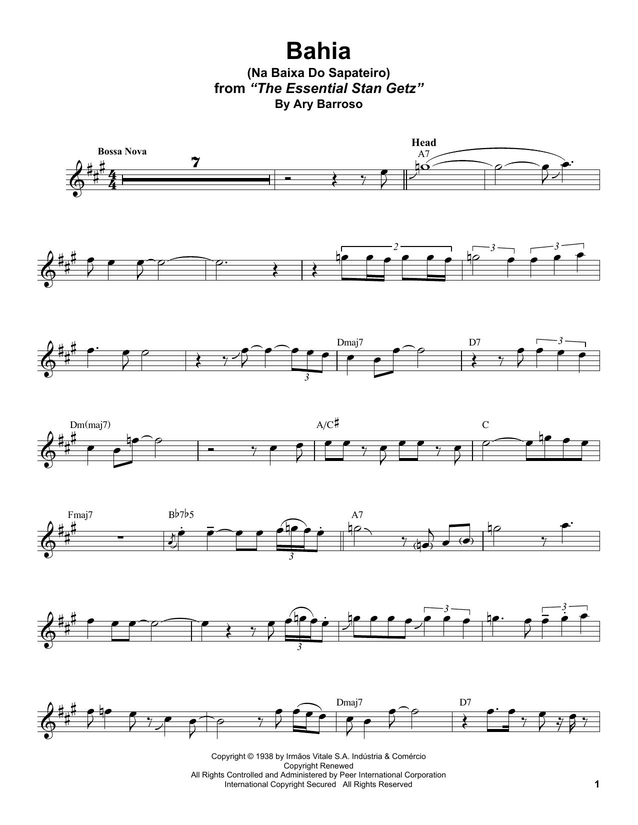 Bahia (Na Baixa Do Sapateiro) (Tenor Sax Transcription)