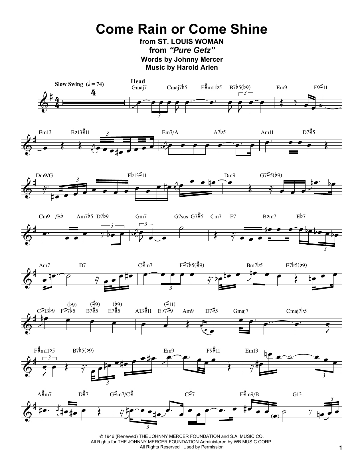 Come Rain Or Come Shine (Tenor Sax Transcription)