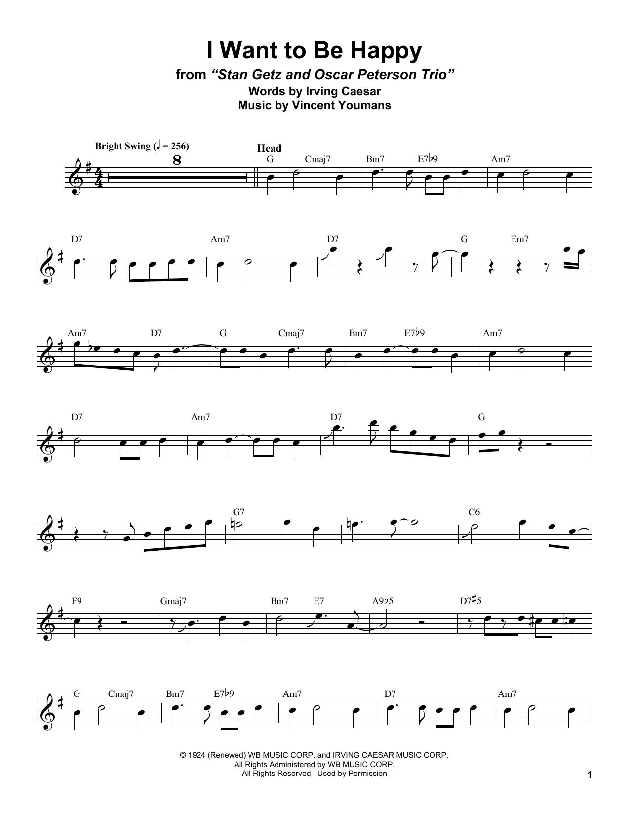 I Want To Be Happy (Tenor Sax Transcription)