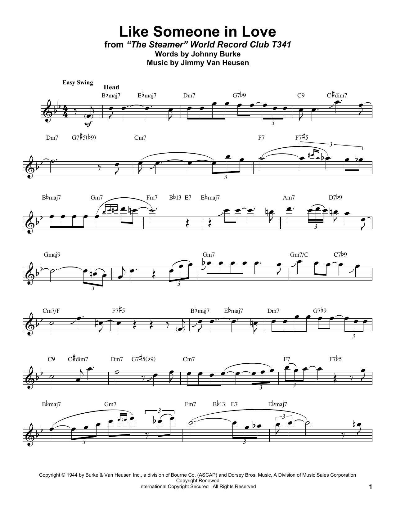 Like Someone In Love (Tenor Sax Transcription)