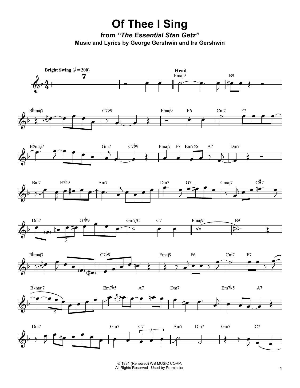 Of Thee I Sing (Tenor Sax Transcription)