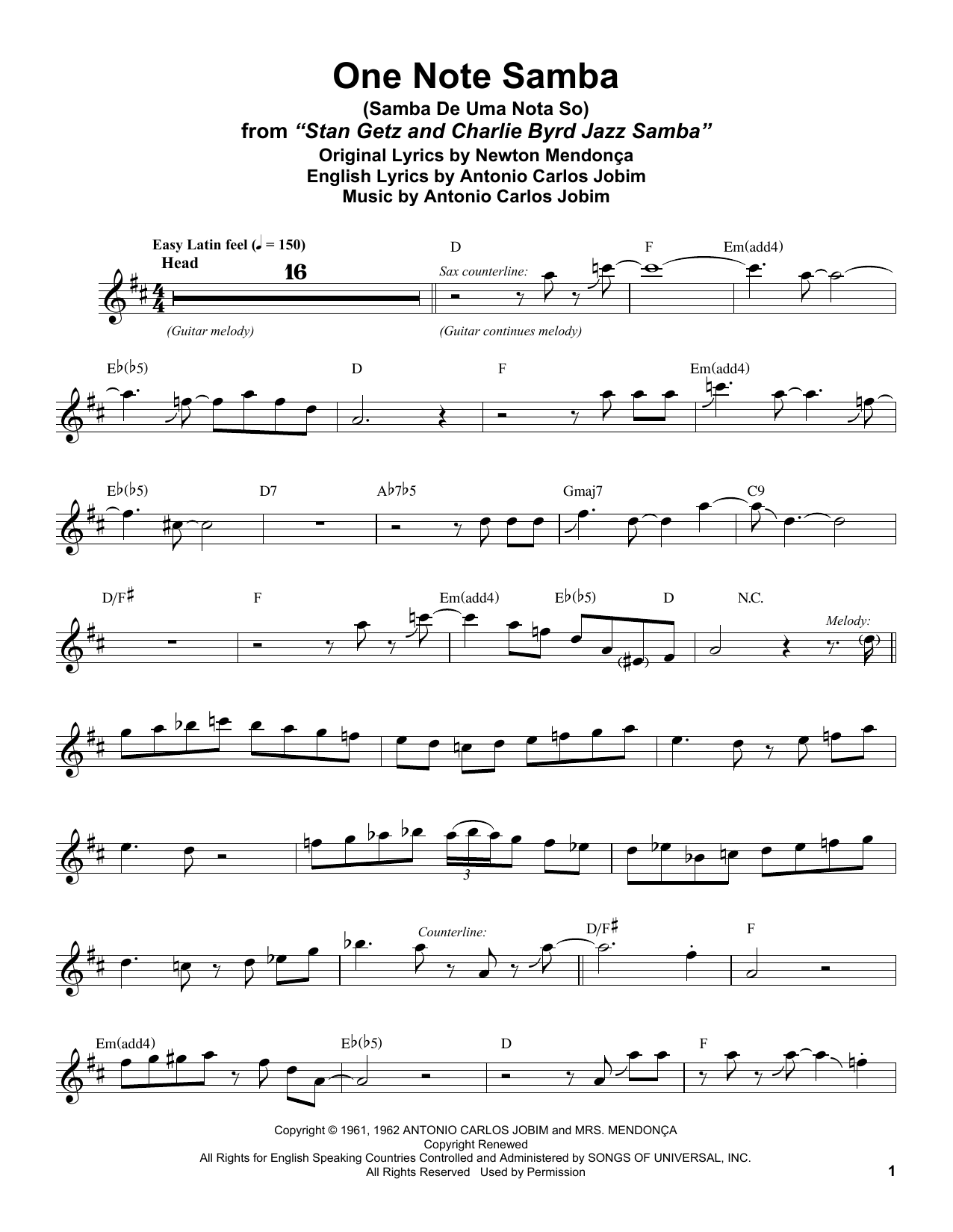 One Note Samba (Samba De Uma Nota So) (Tenor Sax Transcription)