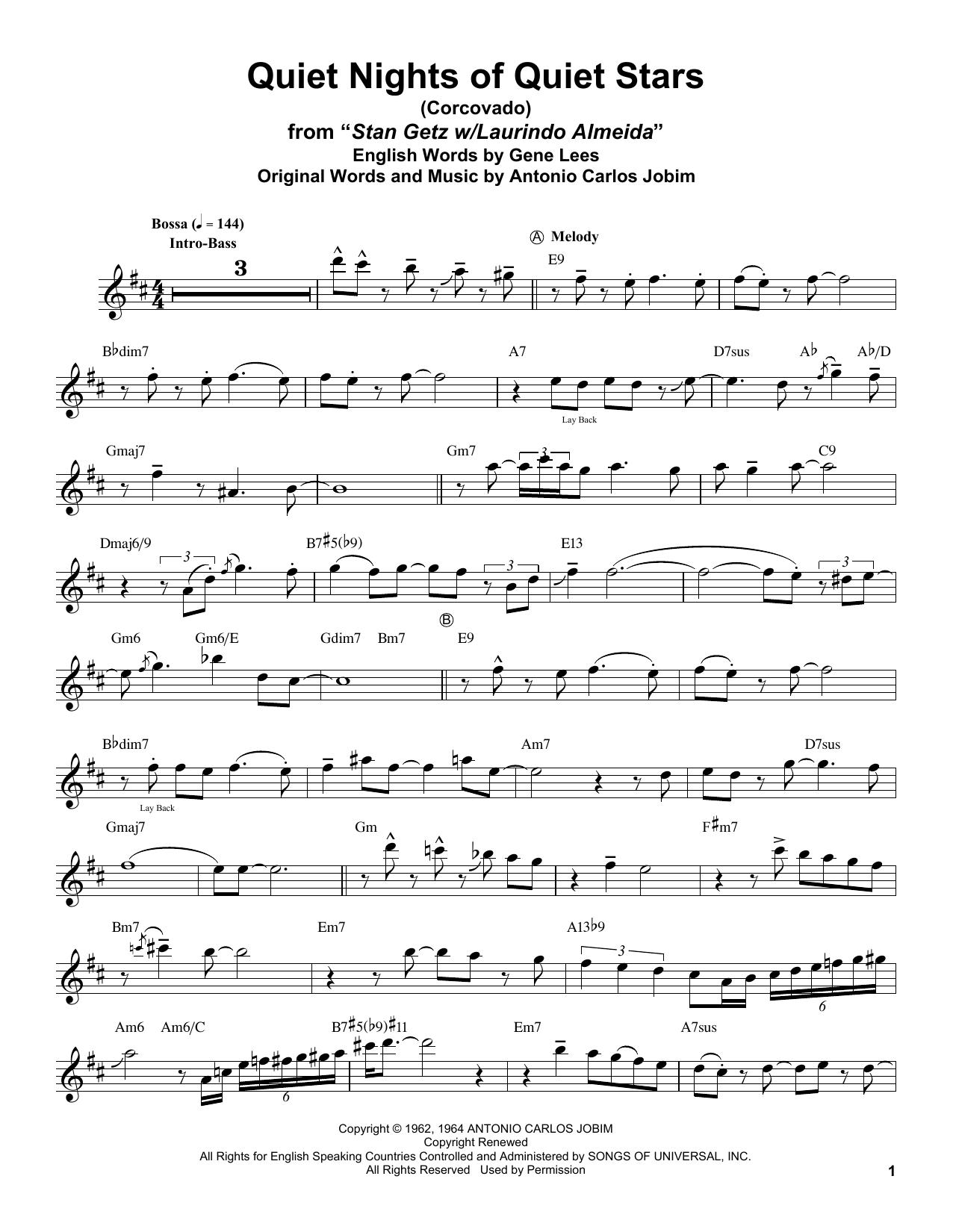 Quiet Nights Of Quiet Stars (Corcovado) (Tenor Sax Transcription)