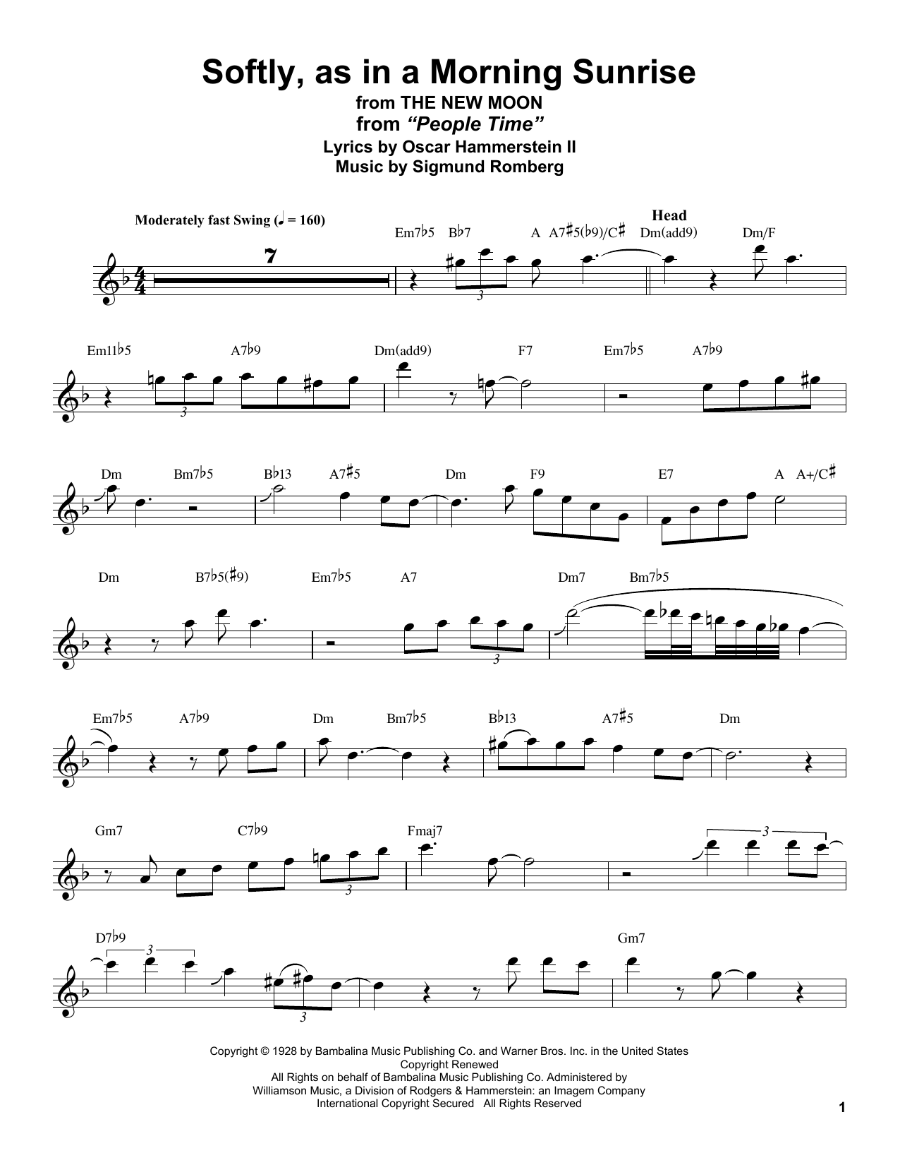 Softly As In A Morning Sunrise (Tenor Sax Transcription)