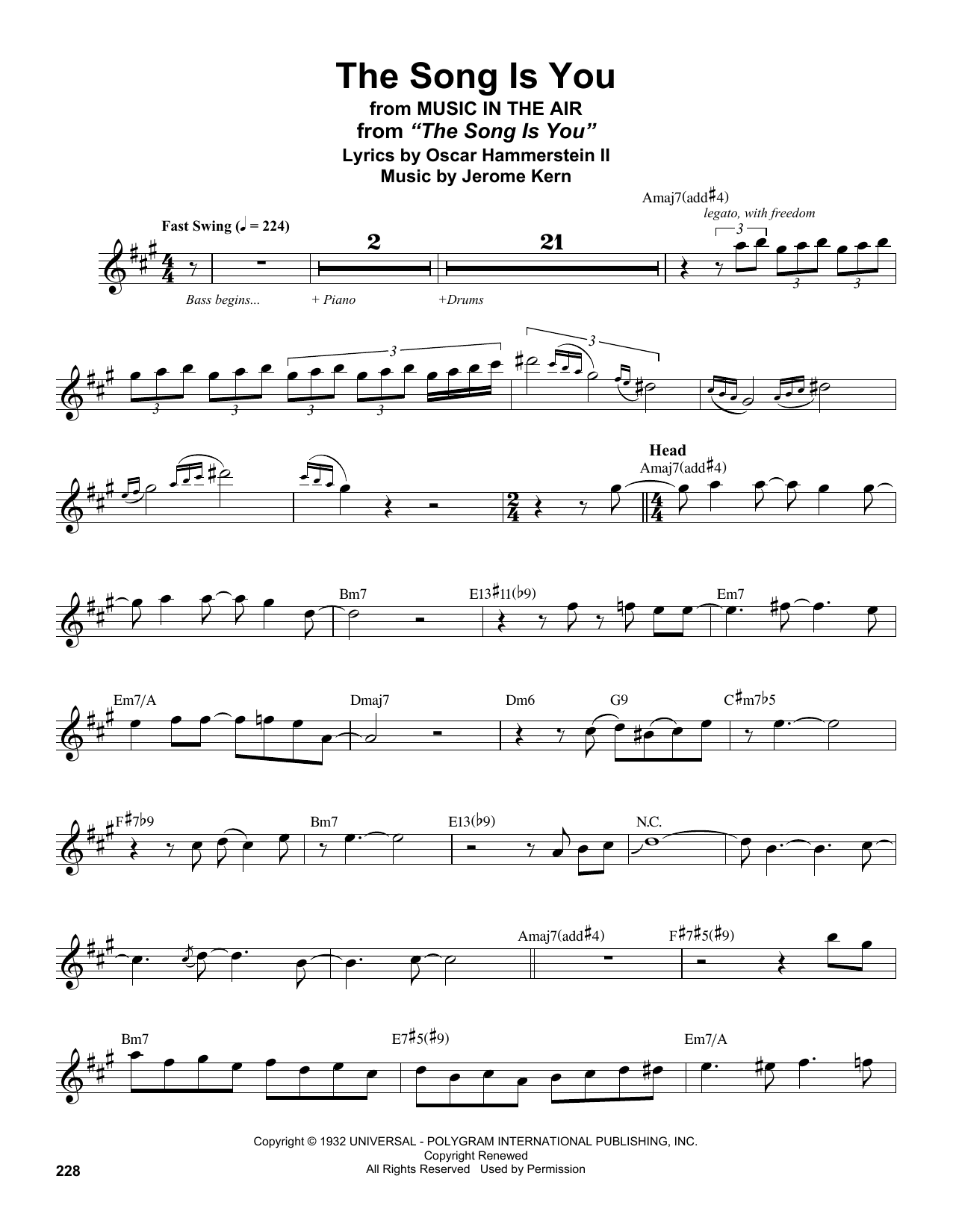 The Song Is You (Tenor Sax Transcription)