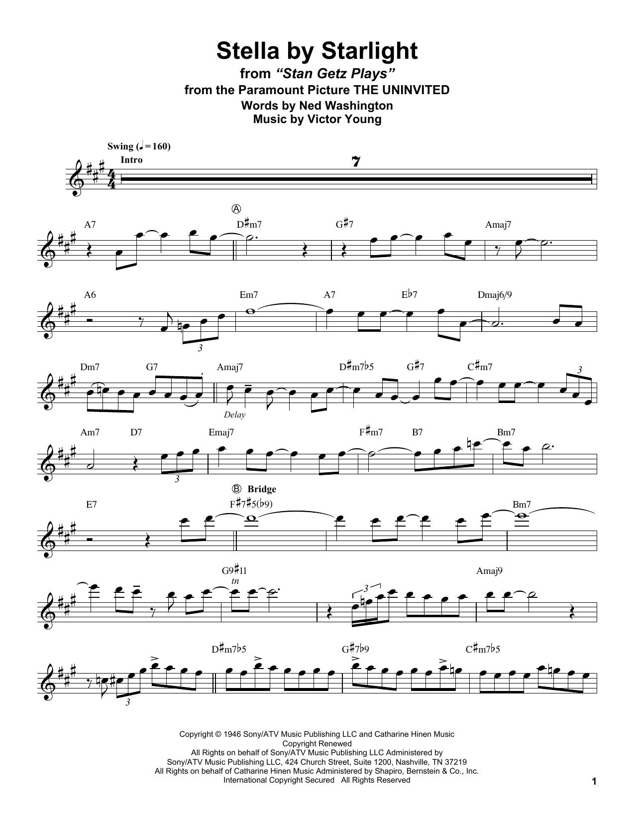 Stella By Starlight (Tenor Sax Transcription)