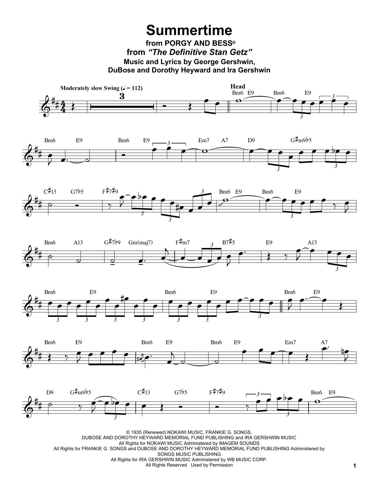 Summertime (Tenor Sax Transcription)
