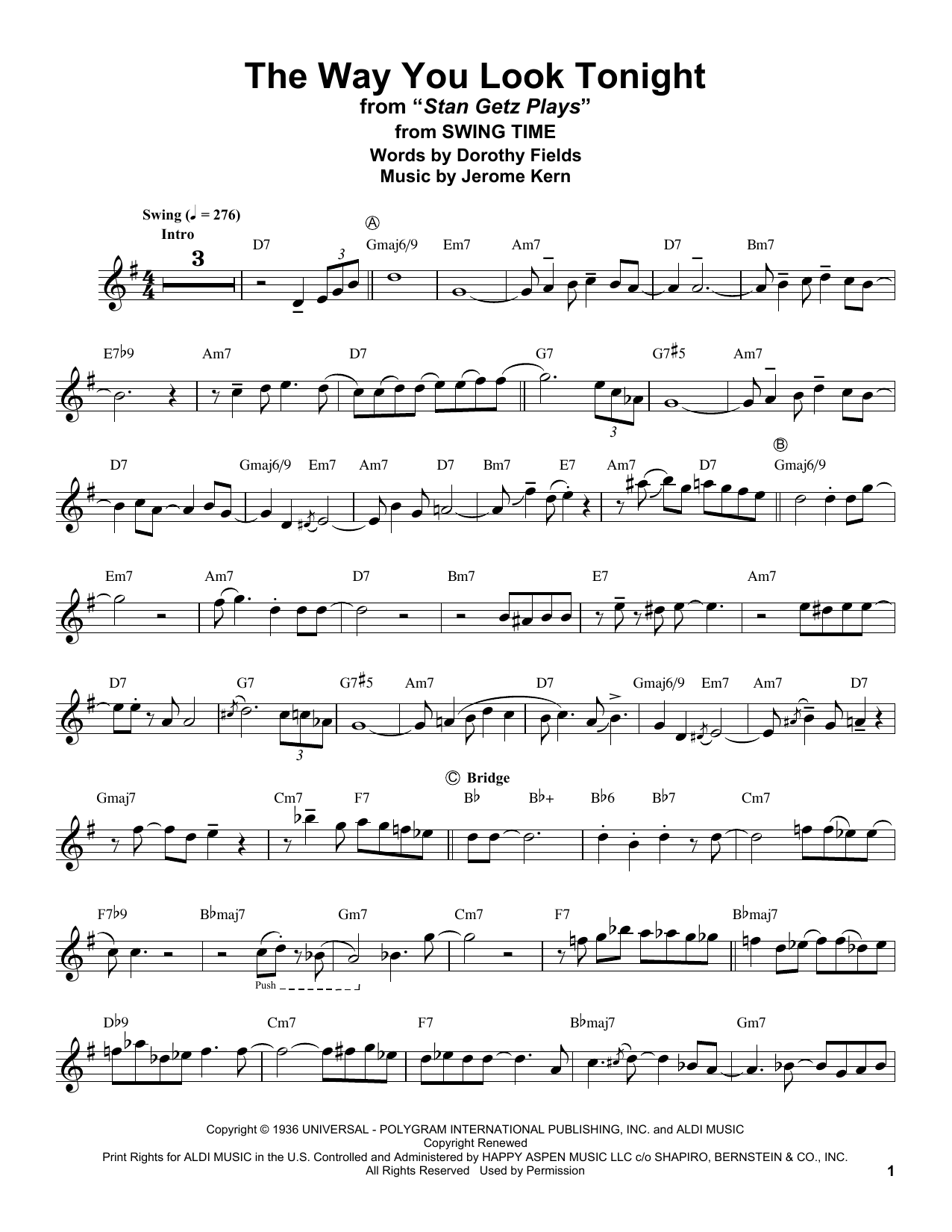 The Way You Look Tonight (Tenor Sax Transcription)