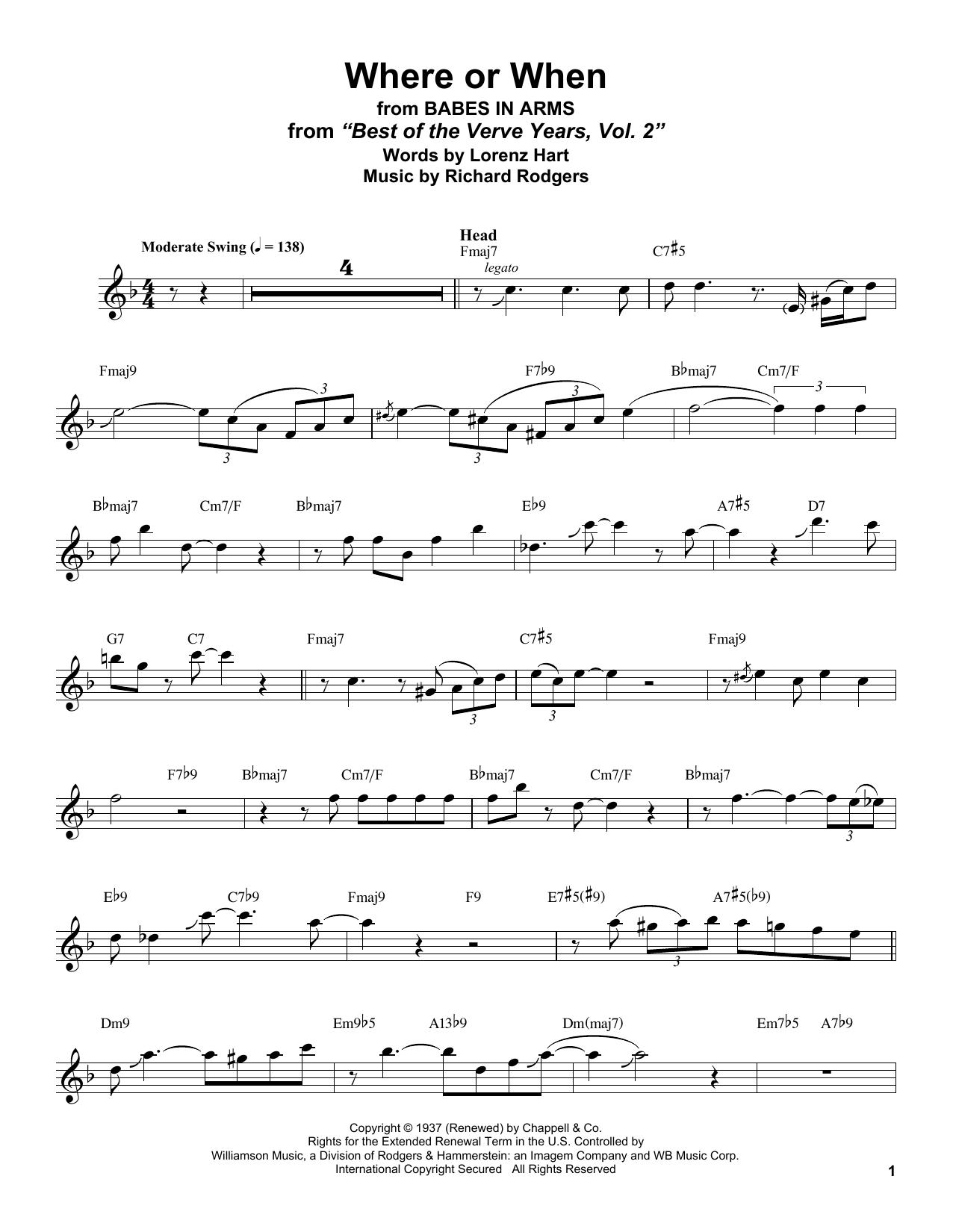 Where Or When (Tenor Sax Transcription)