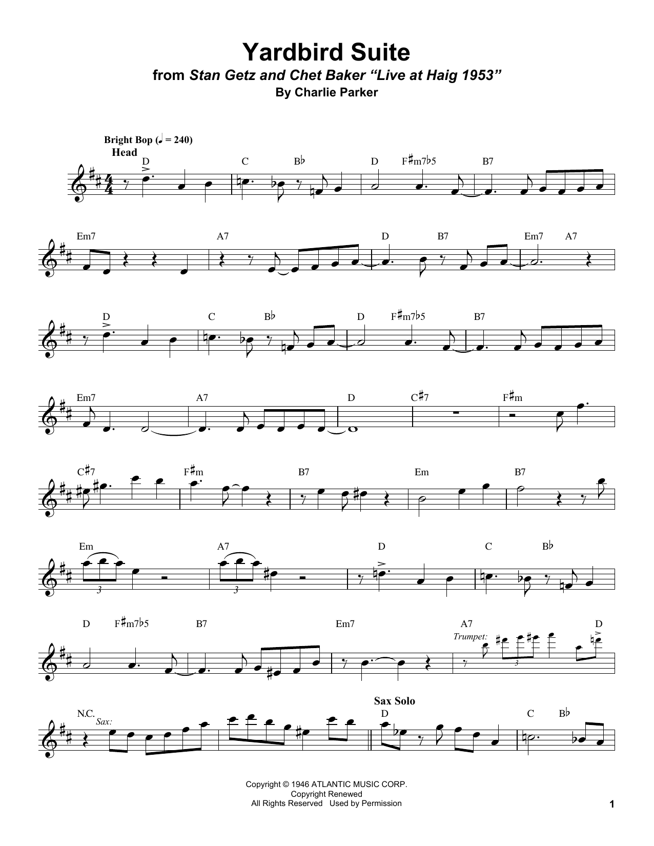 Yardbird Suite (Tenor Sax Transcription) - Print Sheet Music Now