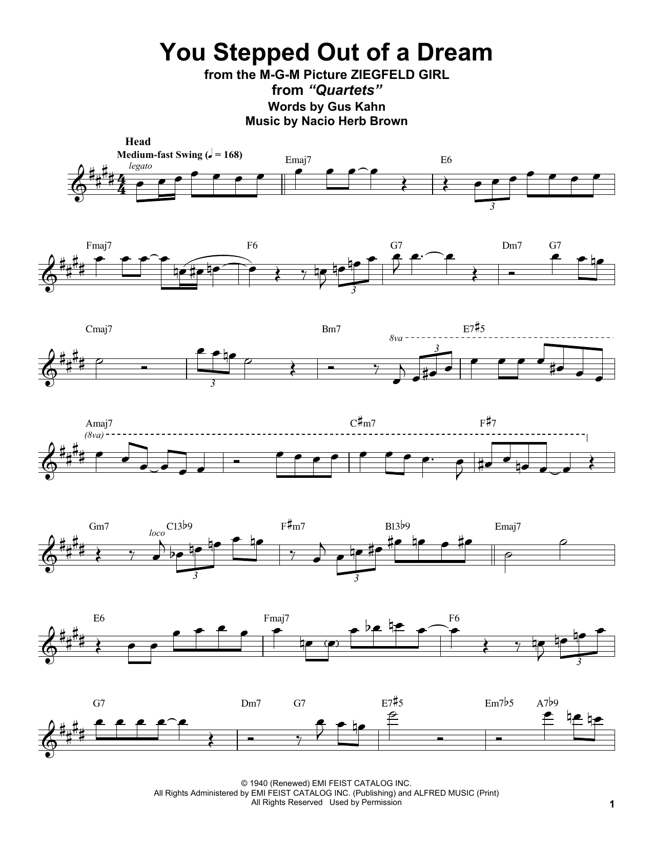 You Stepped Out Of A Dream (Tenor Sax Transcription)