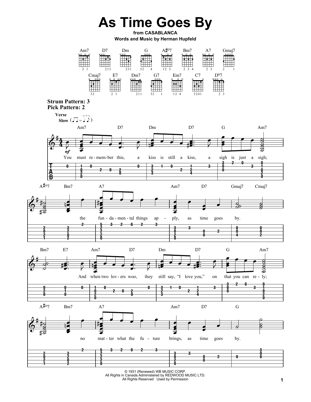 As time goes by guitar chords