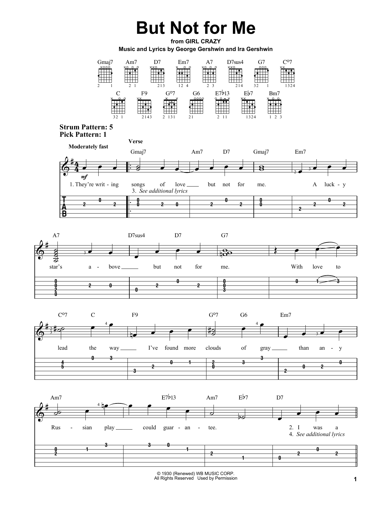 But Not For Me (Easy Guitar Tab)