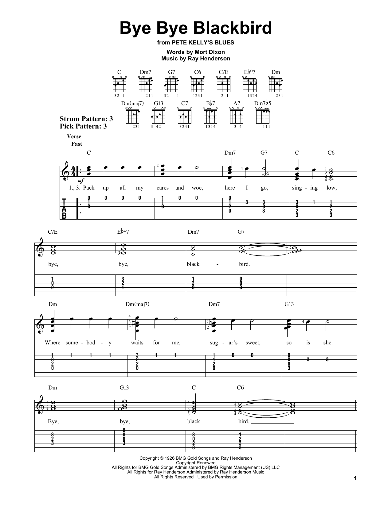 Bye bye blackbird by ray henderson easy guitar tab guitar the most accurate tab hexwebz Images