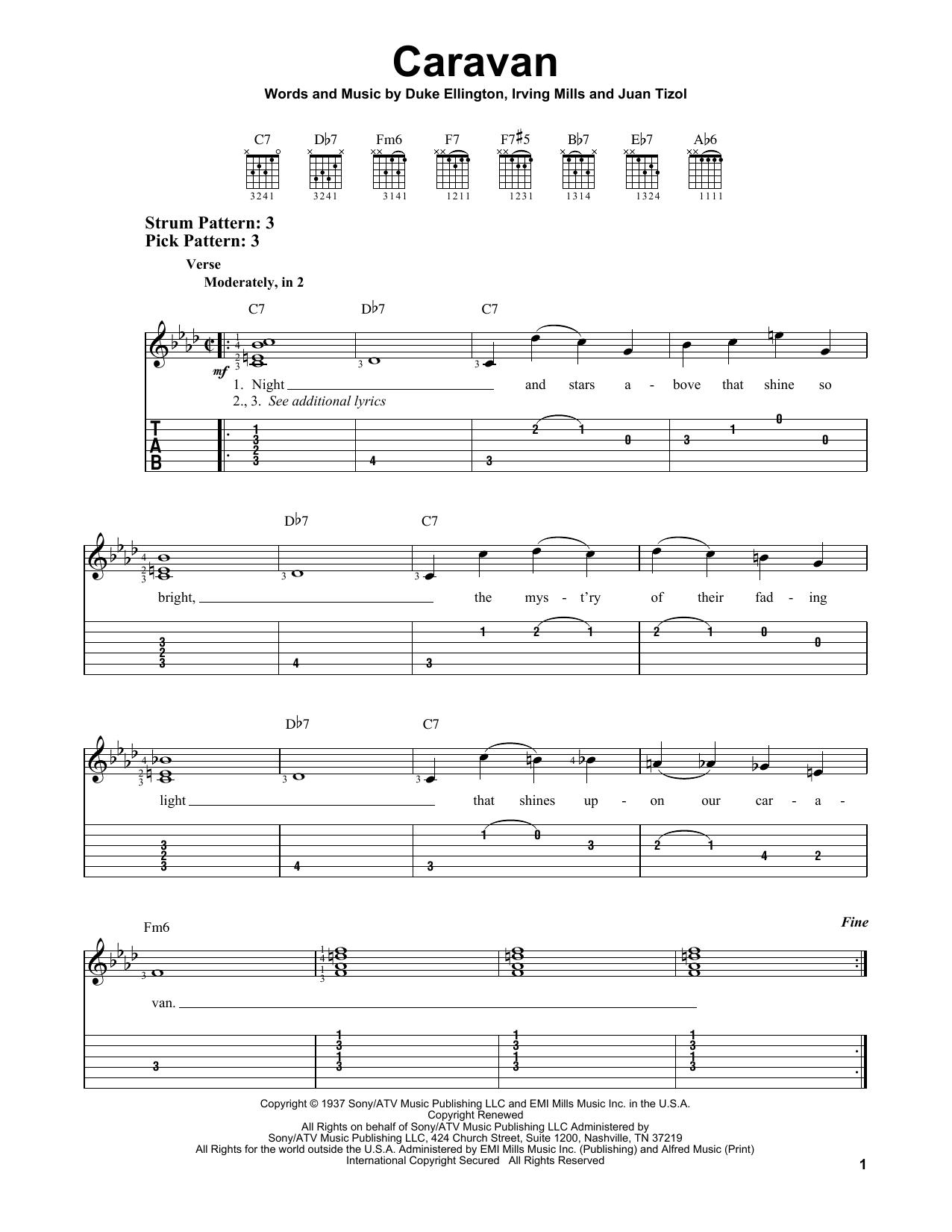 Caravan By Duke Ellington And His Orchestra Easy Guitar Tab