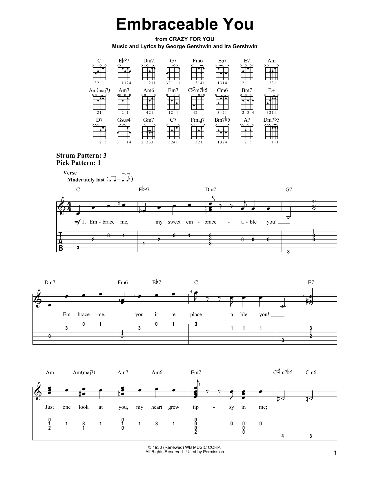 Embraceable You (Easy Guitar Tab)
