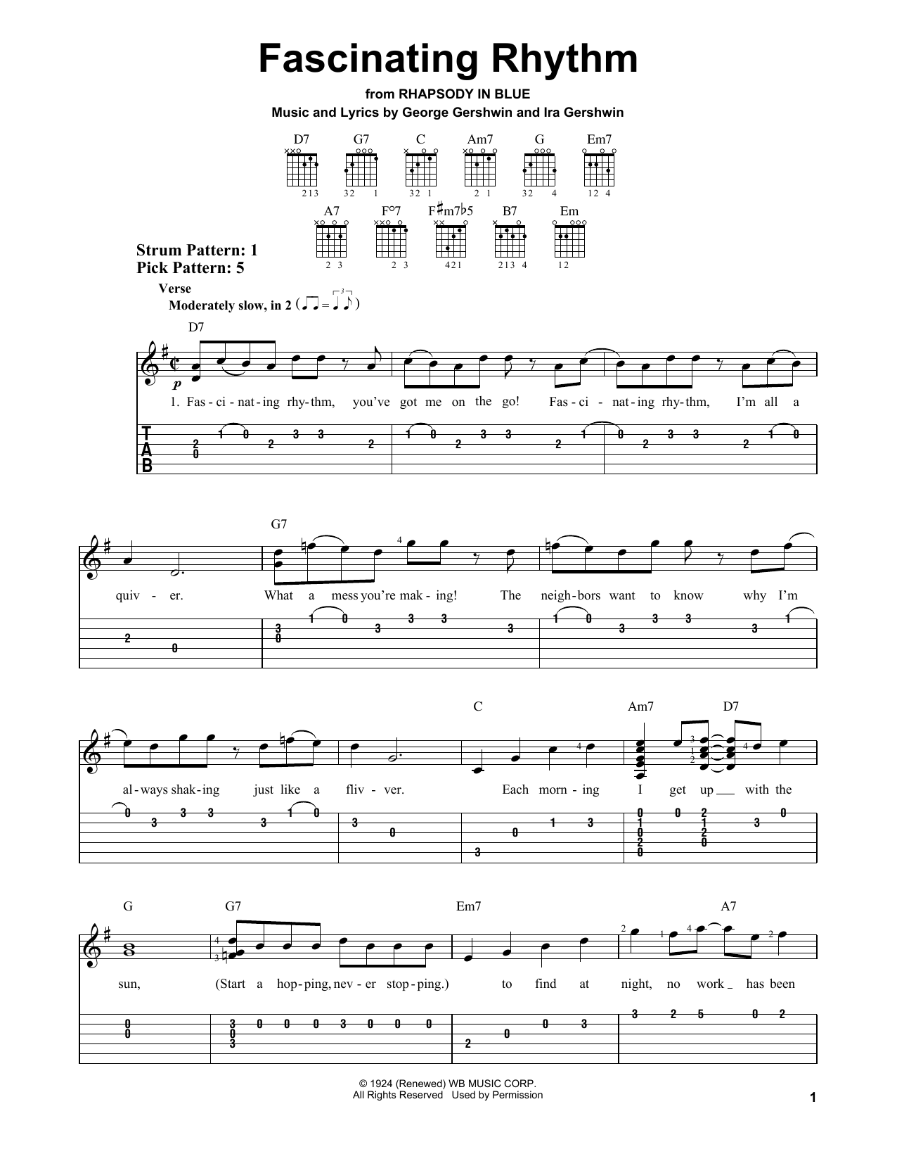 Fascinating Rhythm (Easy Guitar Tab)