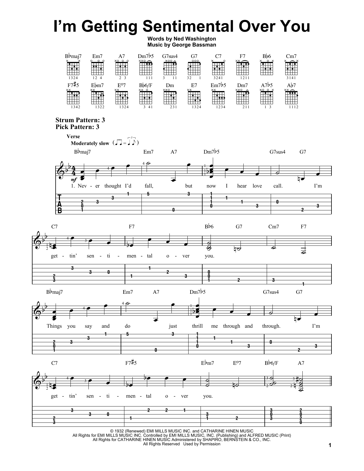 I'm Getting Sentimental Over You (Easy Guitar Tab)