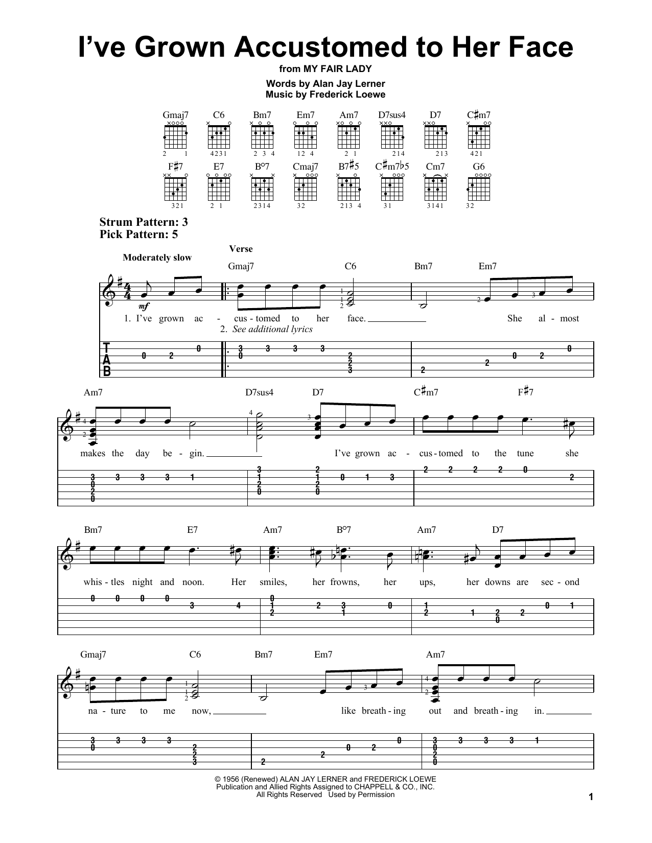 I've Grown Accustomed To Her Face (Easy Guitar Tab)