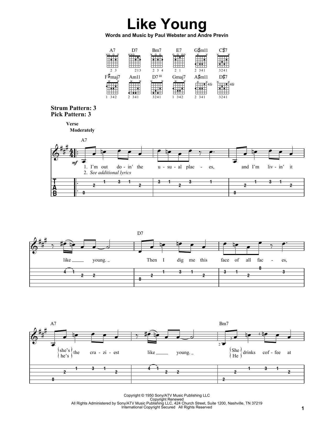 Like Young (Easy Guitar Tab)