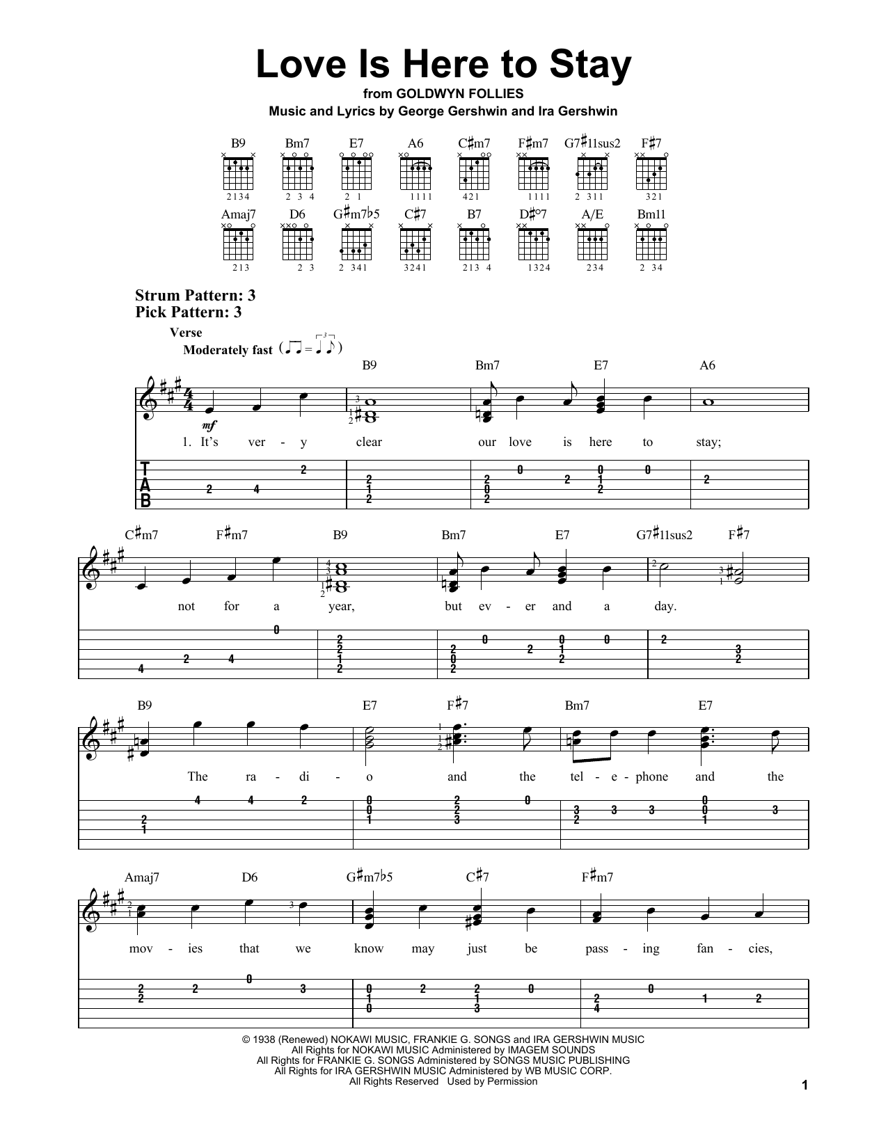 Love Is Here To Stay (Easy Guitar Tab)