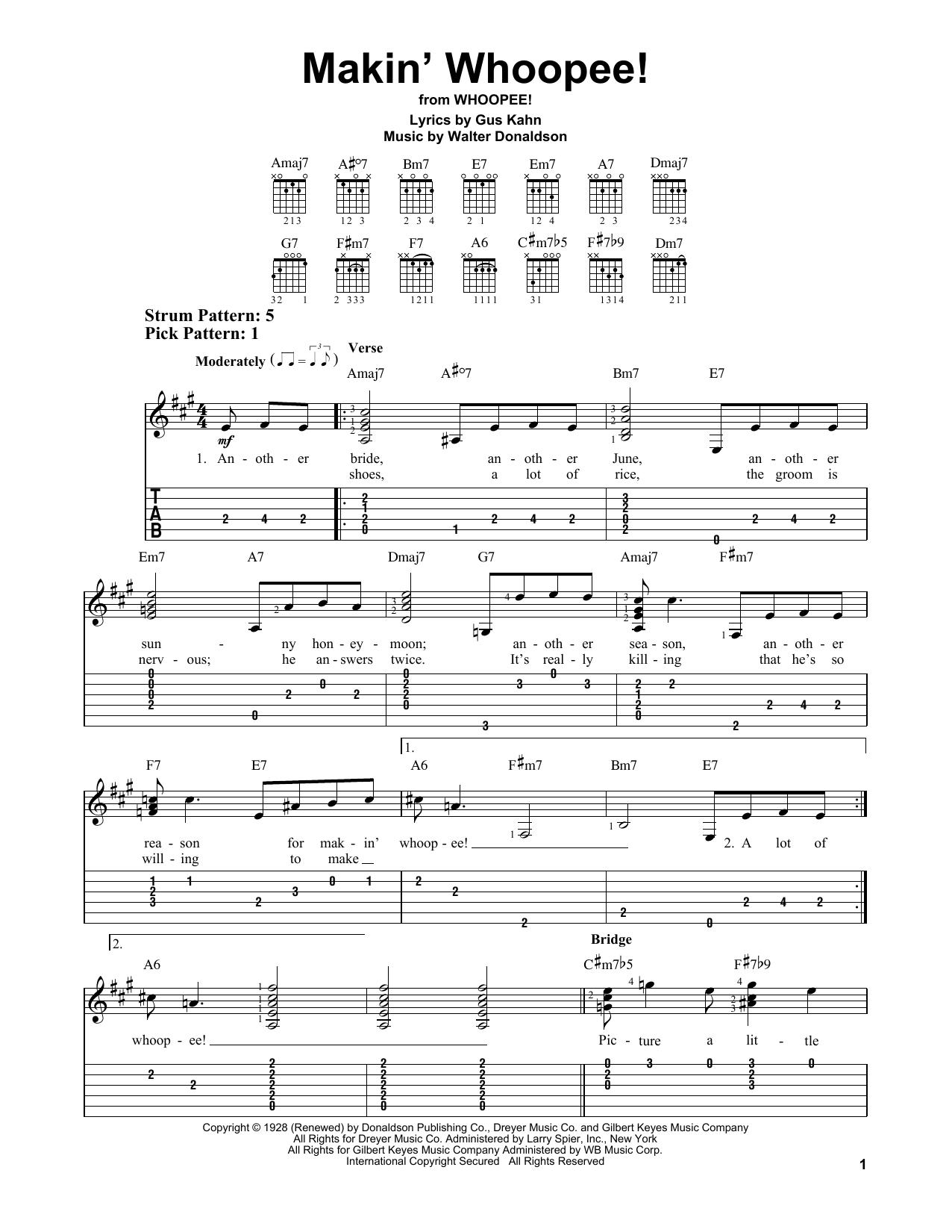 Makin' Whoopee! (Easy Guitar Tab)