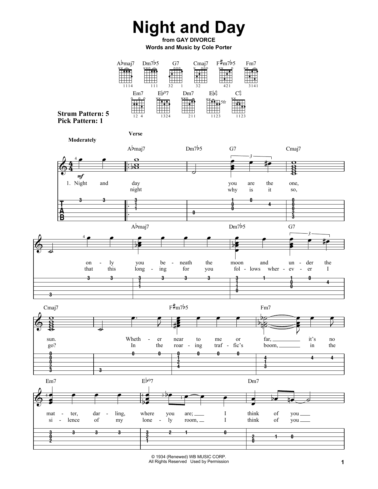 Night And Day (Easy Guitar Tab)