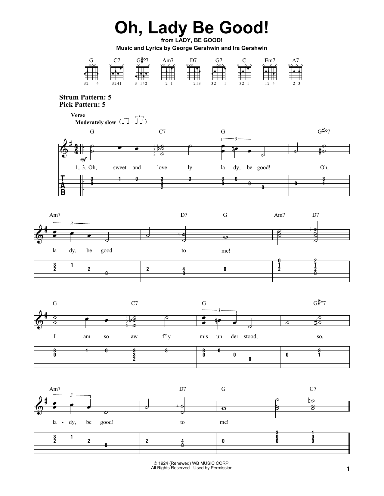 Oh, Lady Be Good! (Easy Guitar Tab)