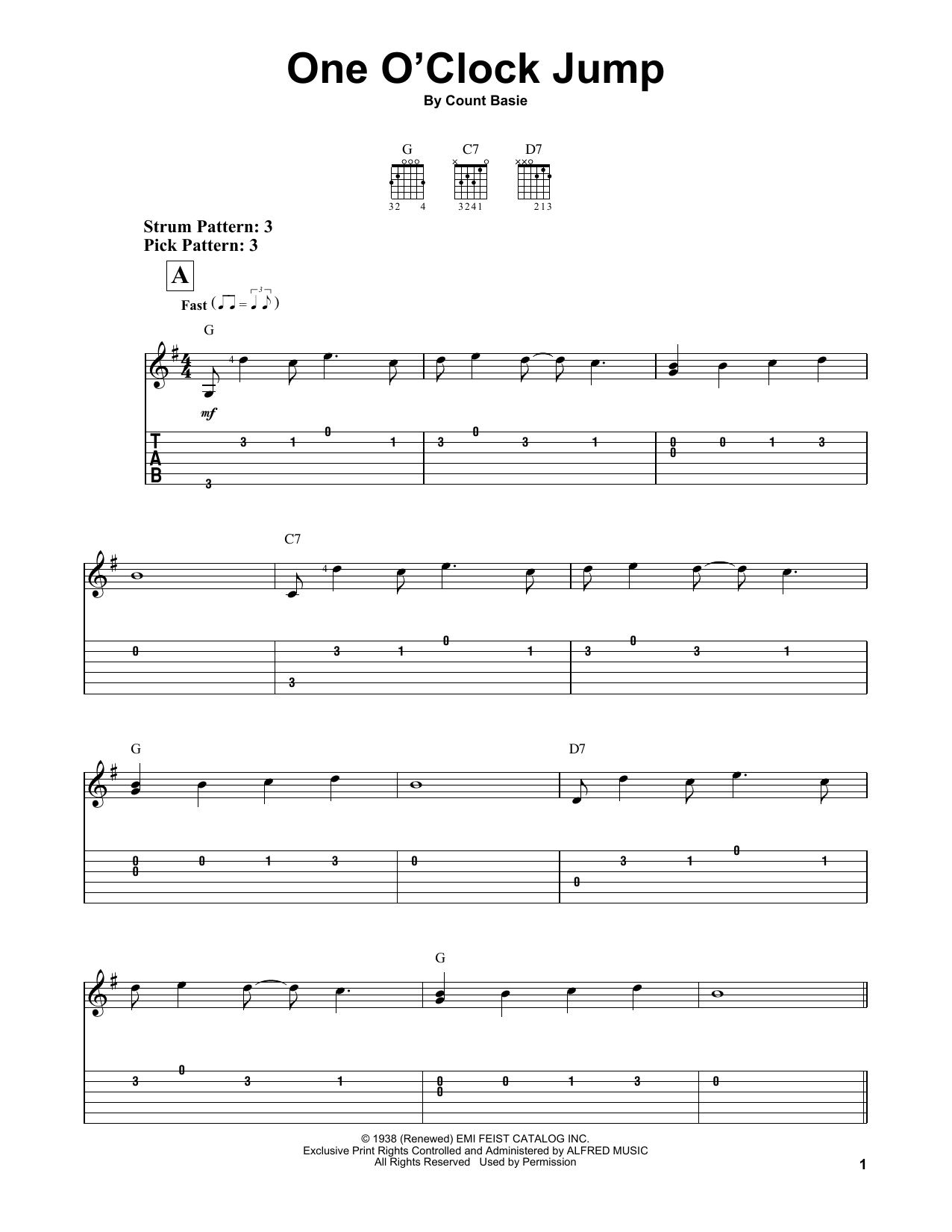 One O'Clock Jump (Easy Guitar Tab)