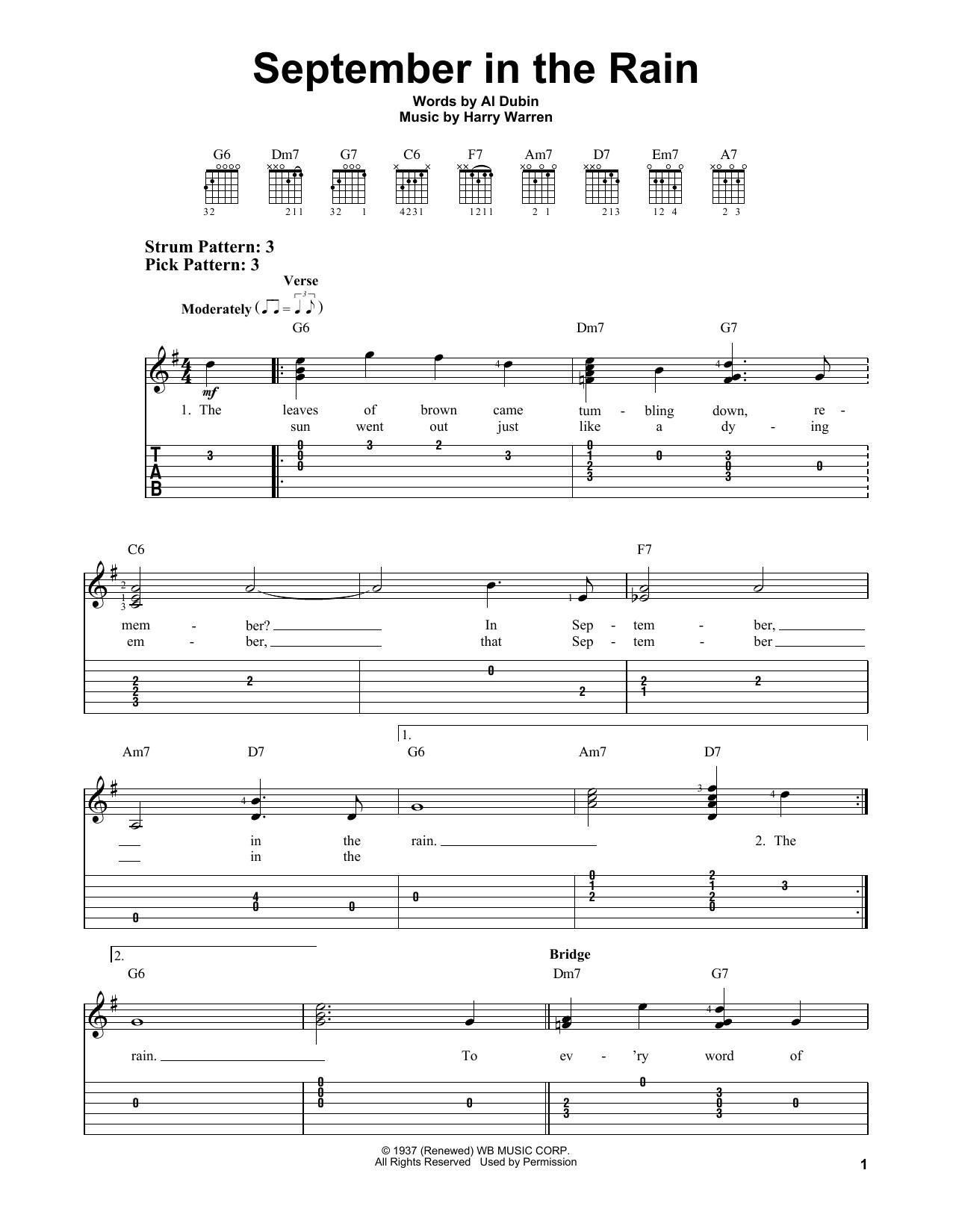 September In The Rain (Easy Guitar Tab)