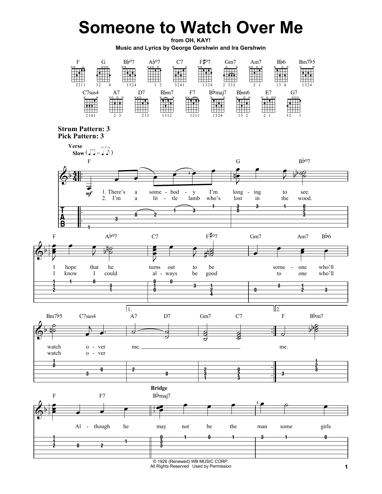 Someone To Watch Over Me (Easy Guitar Tab)