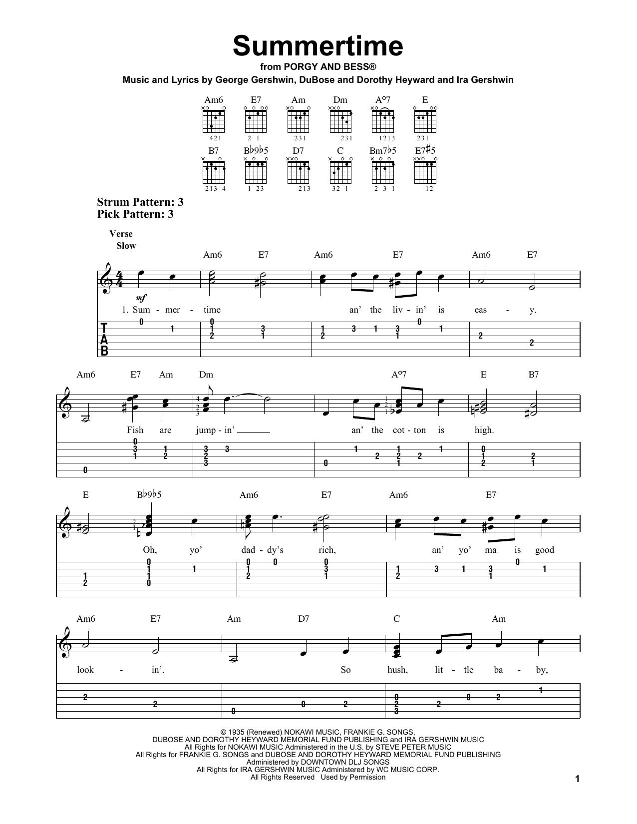 Summertime (Easy Guitar Tab)