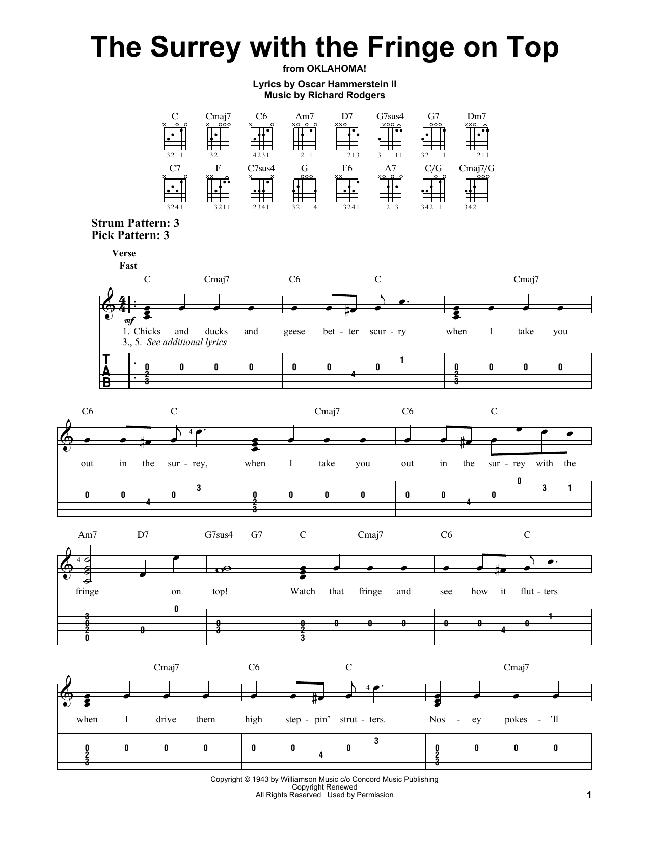 The Surrey With The Fringe On Top (from Oklahoma!) (Easy Guitar Tab)