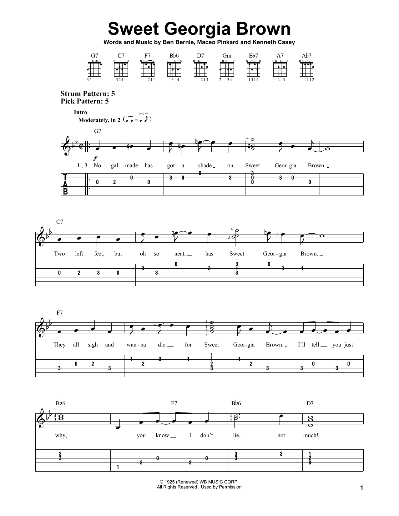 Sweet Georgia Brown (Easy Guitar Tab)