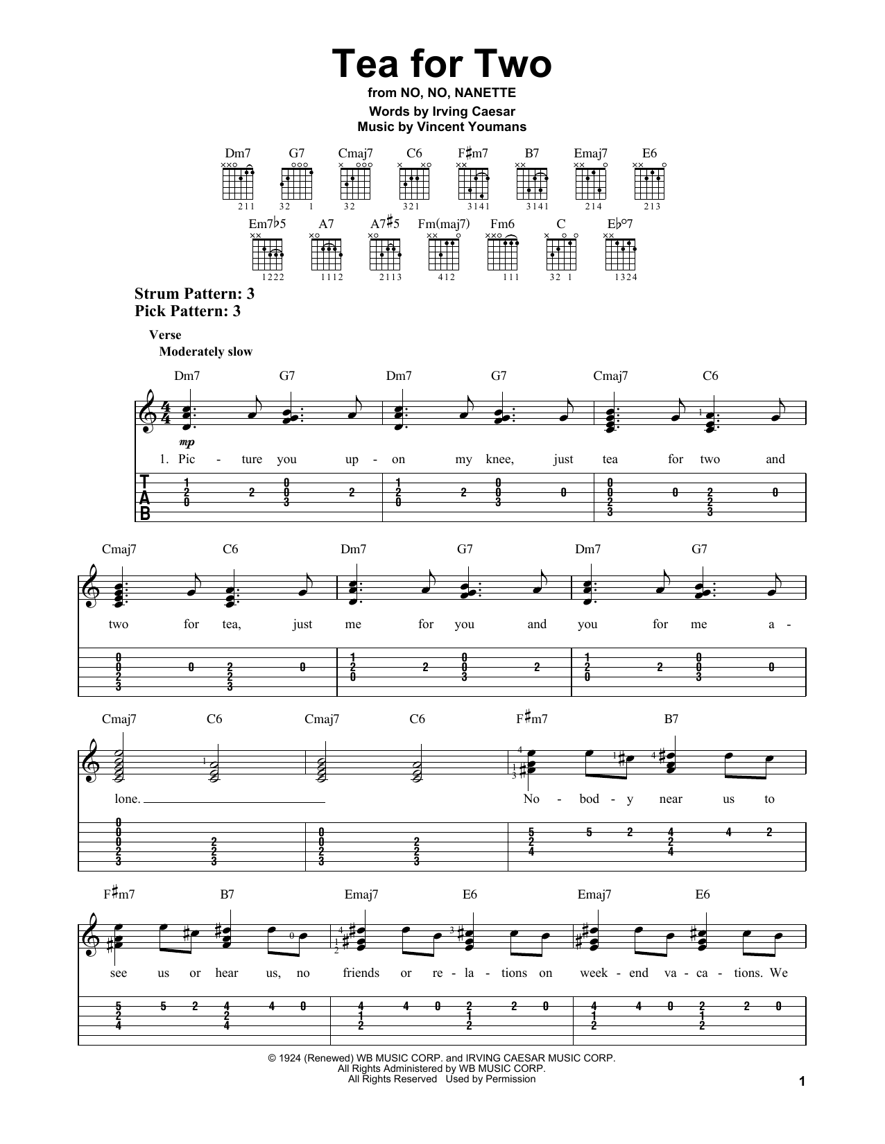 Tea For Two By Irving Caesar Easy Guitar Tab Guitar Instructor