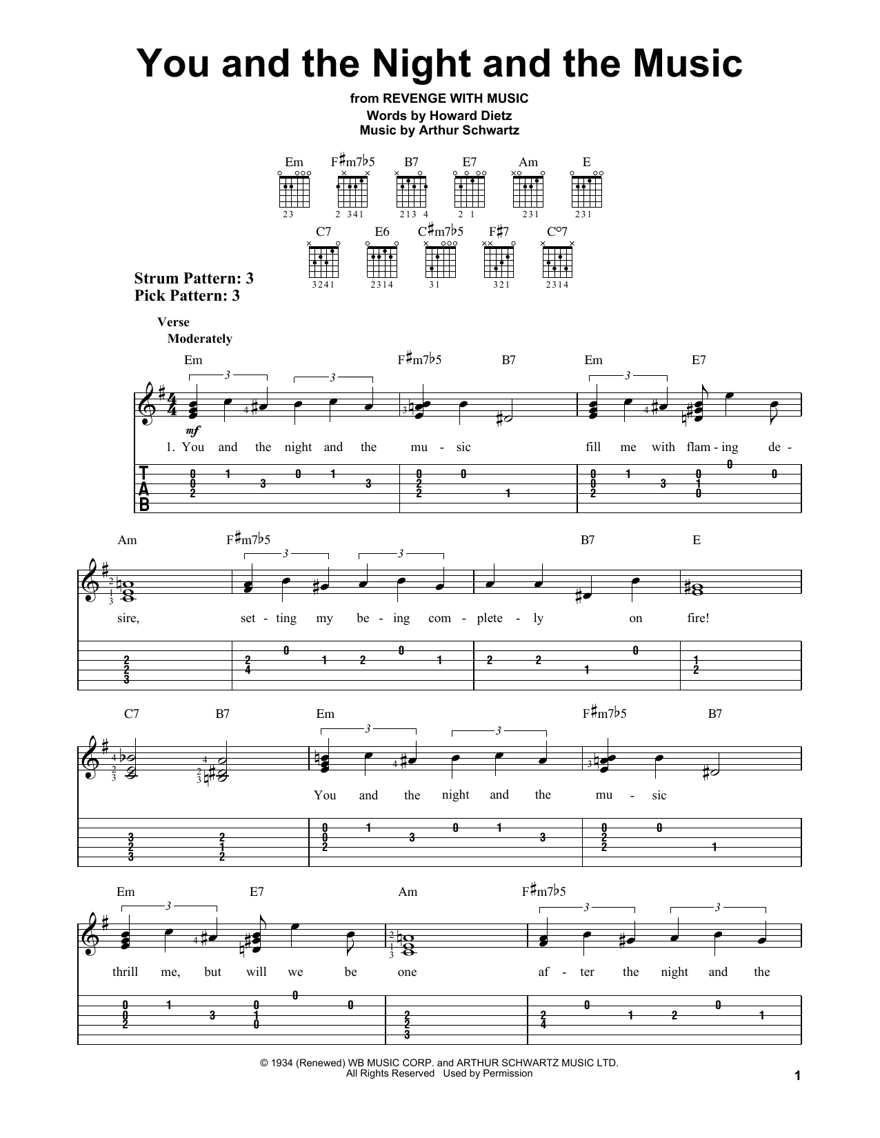 You And The Night And The Music (Easy Guitar Tab)